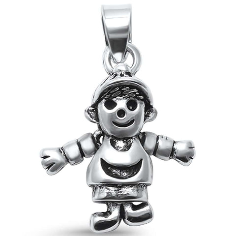 Plain Moving Boy .925 Sterling Silver Pendant