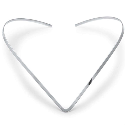 3MM V Shape Collar Choker .925 Sterling Silver Necklace No Clasp