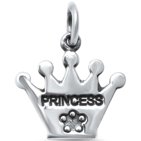 Trendy! Plain Princess Crown  .925 Sterling Silver Charm Pendant