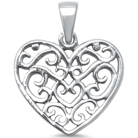 Plain Filigree Heart .925 Sterling Silver Charm Pendant
