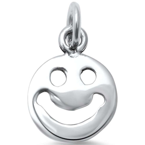 Plain Smiley Face .925 Sterling Silver Charm Pendant