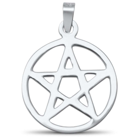 Plain Pentacle Star .925 Sterling Silver Charm Pendant