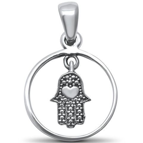 Plain Hand of God Kabbalah Evil Eye .925 Sterling Silver Pendant