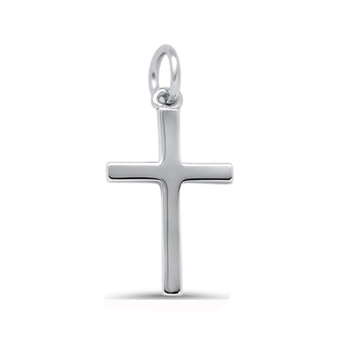 Plain Solid Mini Cross .925 Sterling Silver Pendant