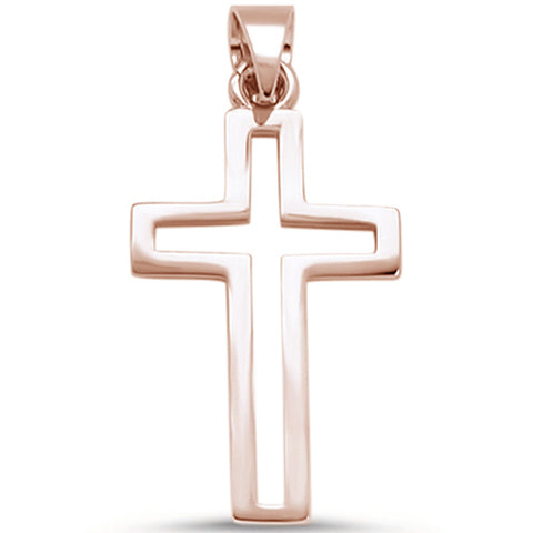 Rose Gold Plated Cross .925 Sterling Silver Pendant