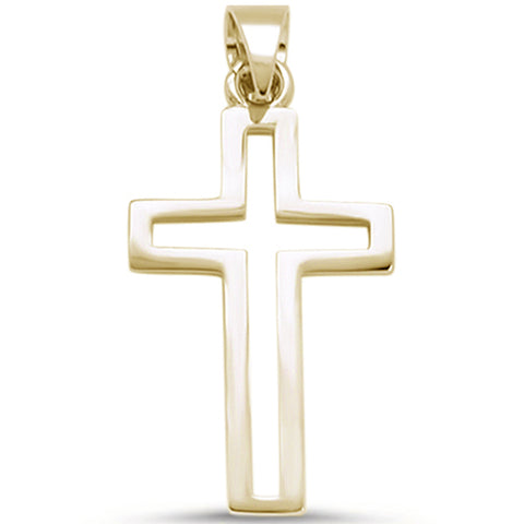 Yellow Gold Plated Cross .925 Sterling Silver Pendant