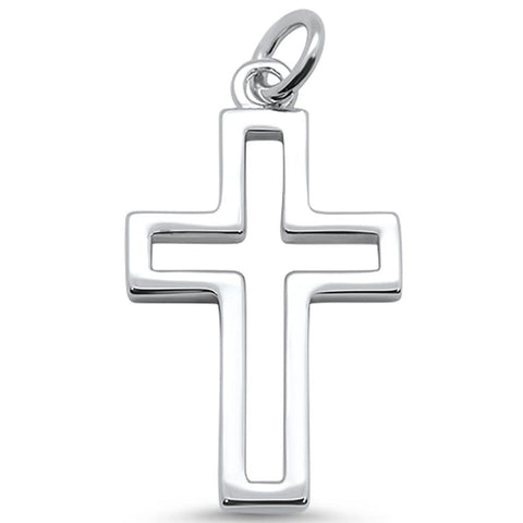 Solid Plain Cross .925 Sterling Silver Pendant