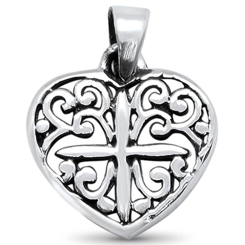 Plain Heart with Cross Design Charm .925 Sterling Silver Pendant