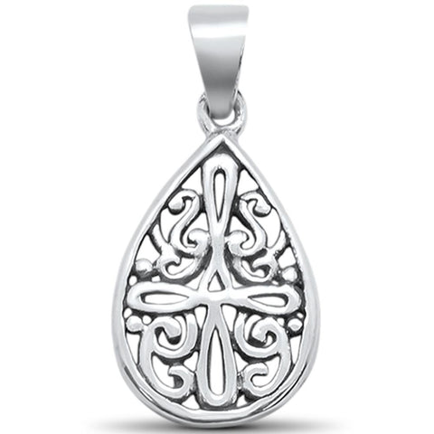 Plain Pear Shape Cross Filigree Charm .925 Sterling Silver Pendant