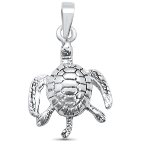 Plain Turtle Design Charm .925 Sterling Silver Pendant