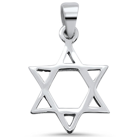 Plain Star of David .925 Sterling Silver Pendant