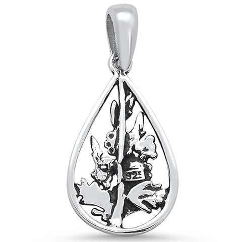 Plain Pear Shape with Flowers & Leaves .925 Sterling Silver Pendant