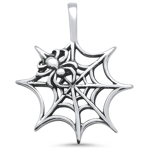 Plain Spider Web Design .925 Sterling Silver Pendant