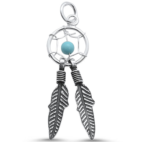 Turquoise Dream Catcher & Feather .925 Sterling Silver Pendant