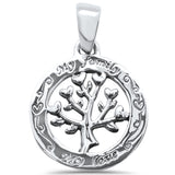 Plain 'My Family My Love' Tree Of Life .925 Sterling Silver Pendant