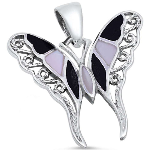 Pearl & Black Onyx Filigree Butterfly .925 Sterling Silver Pendant