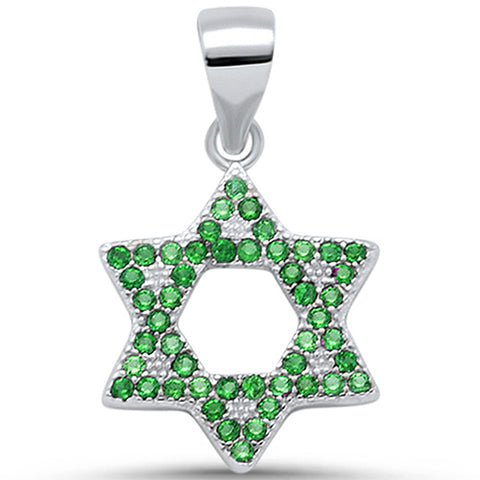 Micro Pave Emerald Star Of David .925 Sterling Silver Pendant