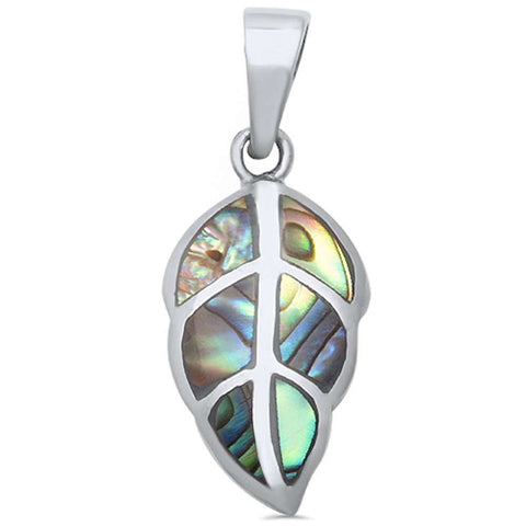 Wholesale Silver- Abalone Shell Leaf .925 Sterling Silver Pendant