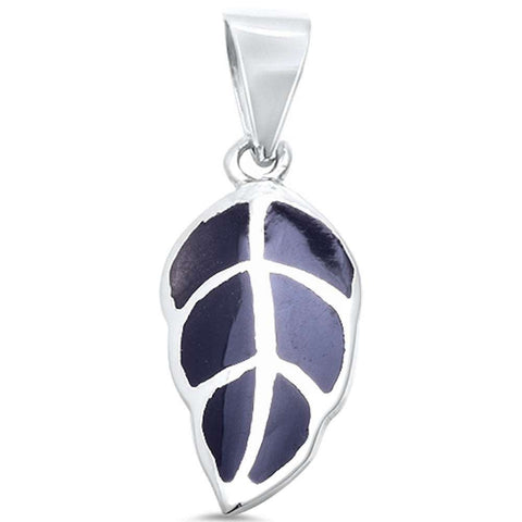 Wholesale Silver- Black Onyx Leaf .925 Sterling Silver Pendant