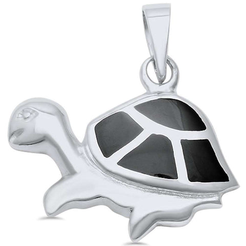 Wholesale Silver- Black Onyx Turtle .925 Sterling Silver Pendant
