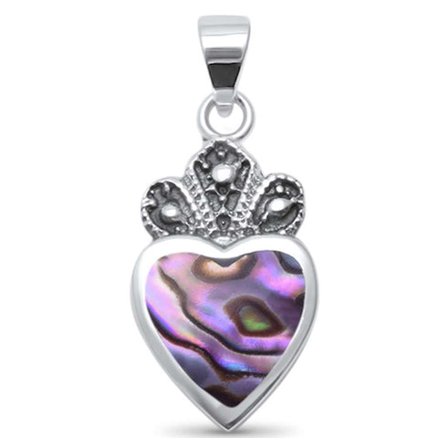 Cute! Abalone Crown Heart .925 Sterling Silver Charm Pendant