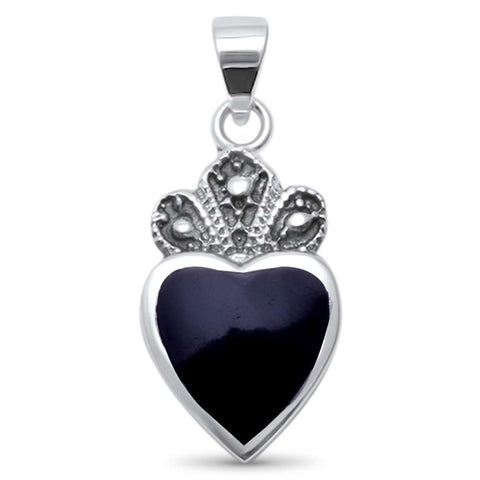 Cute! Black Onyx Crown Heart .925 Sterling Silver Charm Pendant