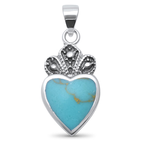 Cute! Turquoise Crown Heart .925 Sterling Silver Charm Pendant
