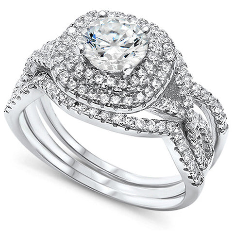 Prong Wedding Set Round CZ .925 Sterling Silver Ring Sizes 4-10