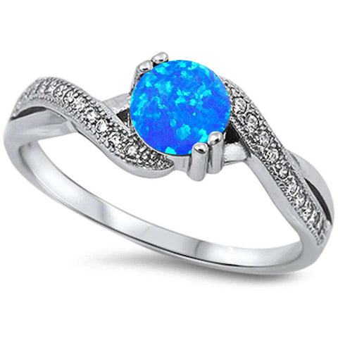 Blue Opal Infinity Cubic Zirconia .925 Sterling Silver Ring Sizes 3-12