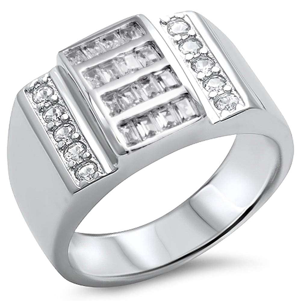 Sonara Jewelry-Men's Baguette Cubic Zirconia Solid Sterling Silver .925 Sterling Silver Ring sizes 9-13