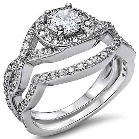 1ct Cubic Zirconia Twisted Band Two Piece Bridal Set .925 Sterling Silver 5-10
