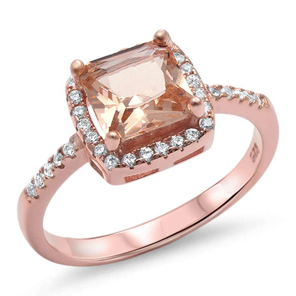 Princess Cut Morganite & Cz Engagment  .925 Sterling Silver Ring Sizes 5-10