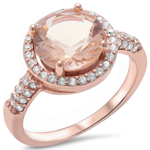 Rose Gold Plated Halo Morganite & Pave Cubic Zirconia .925 Sterling Silver Ring Sizes 5-11