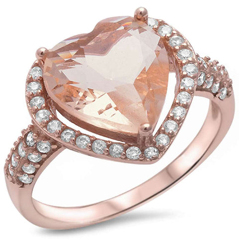 Rose Gold Plated Morganite & Pave Cubic Zirconia Heart .925 Sterling Silver Ring Sizes 5-10
