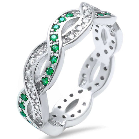 Green Emerald & Cubic Zirconia Infinity Band .925 Sterling Silver Ring Sizes 4-11