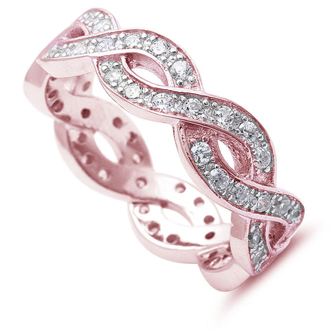 <span>CLOSEOUT!</span>  Rose Gold Plated Cz Infinity Design .925 Sterling Silver Ring Sizes 4-12