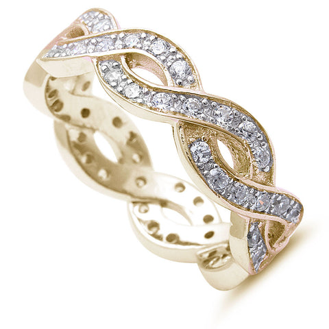 <span>CLOSEOUT!</span>  Yellow Gold Plated Cz Infinity Design .925 Sterling Silver Ring Sizes 4-12