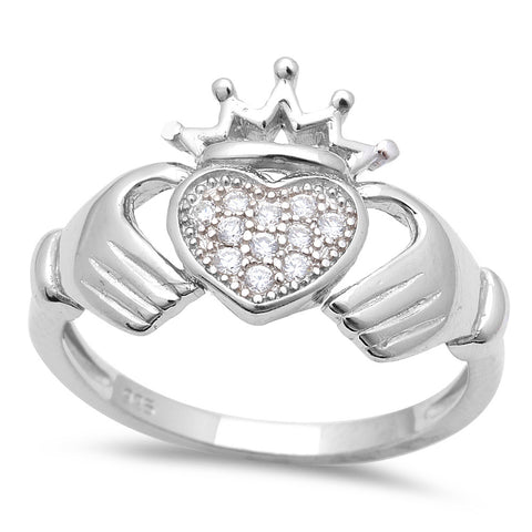 Pave CZ Irish Heart Claddagh .925 Sterling Silver Ring Sizes 5-9