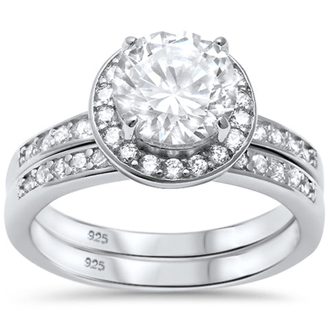 2.25ct Halo Style CZ Engagement Set .925 Sterling Silver Ring Sizes 5-10