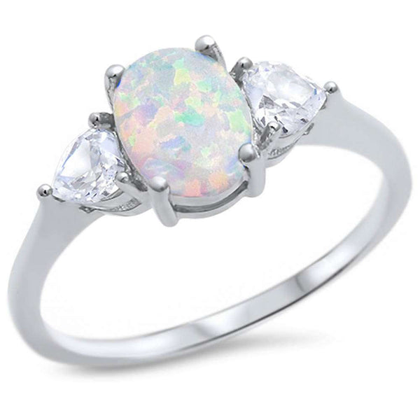 Oval White Opal & Cubic Zirconia Heart .925 Sterling Silver Ring Sizes 4-10