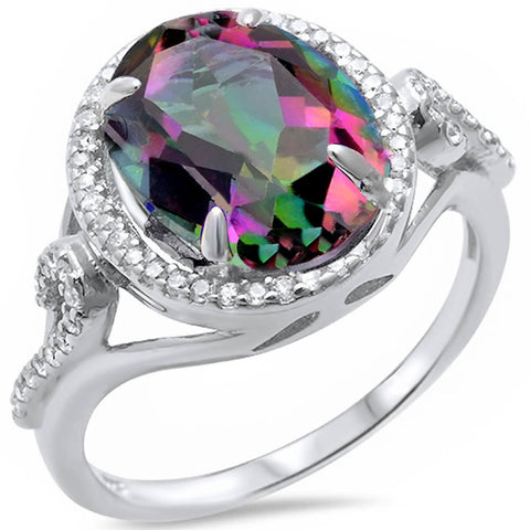 Oval Rainbow Topaz & Cz .925 Sterling Silver Ring Sizes 5-10