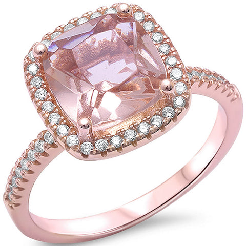 Cushion Cut Morganite & Cz .925 Sterling Silver Ring Sizes 5-10