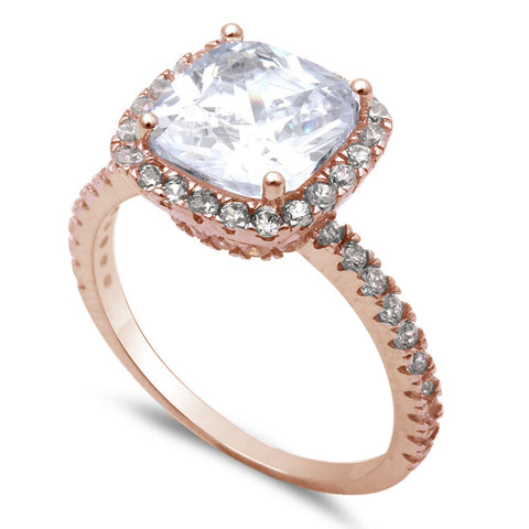 Rose Gold Plated Cushion Cut Fine Cz .925 Sterling Silver Ring Sizes 5-10