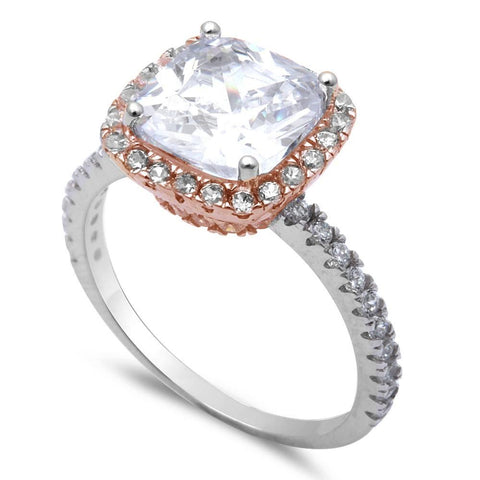 3ct Two Tone Cushion Cut Fine Cz .925 Sterling Silver Ring Sizes 6-8