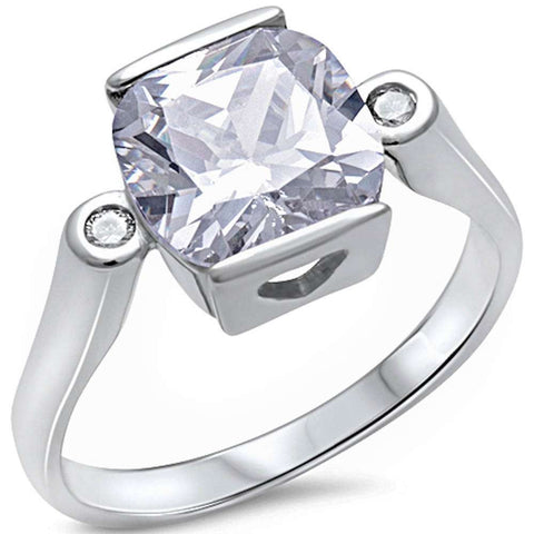 <span>CLOSEOUT!</span> Cushion Cut Cubic Zirconia .925 Sterling Silver Ring Sizes 5-10