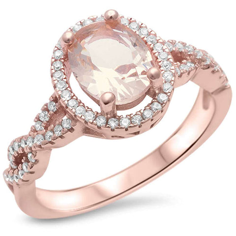 Rose Gold Plated Morganite & Cz .925 Sterling Silver Ring Sizes 5-11