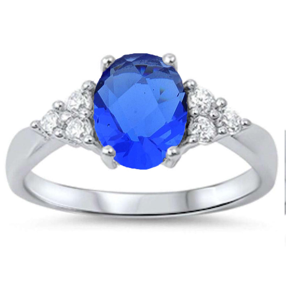 <span>CLOSEOUT!</span> Best Seller Oval Sapphire & Cz .925 Sterling Silver Ring Sizes 4-10