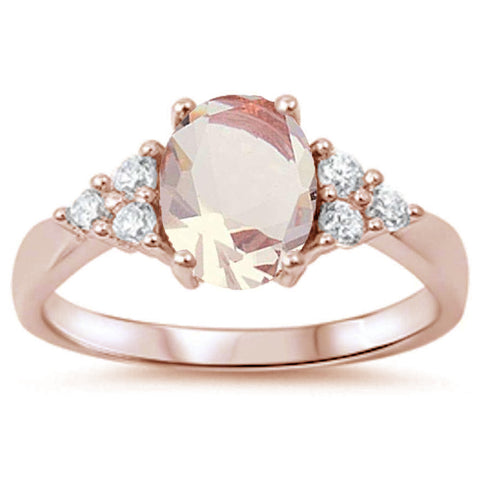Rose Gold Plated Morganite & Cubic Zirconia .925 Sterling Silver Ring Sizes 4-11