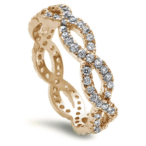 <span>CLOSEOUT!</span> Yellow Gold Plated Beautiful Cz Eternity Infinity .925 Sterling Silver Ring Sizes 4-10