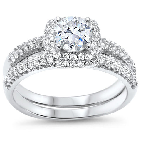 Solitaire Wedding Set Round CZ .925 Sterling Silver Ring Sizes 4-11